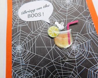 Halloween Card - Boos Halloween Card - Halloween Liquor Card - Halloween Handmade Greeting Card with Smiley Jack-O-Lantern Embellishment