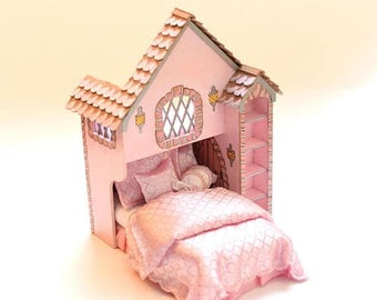 SPECIAL SALE Shimmering Pink CASTLE Cottage Playhouse Bed Dollhouse Miniature Custom Built Hand-Painted Victorian Charming