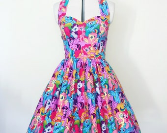 My Little Pony dress-horse, unicorn, rainbow, Womens halterneck