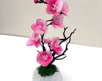 Handmade Nylon Flower Arrangement, Craft Flowers, Nylon Flowers, Wedding Décor, Nylon Flower, Gifts for Girl, Mini Dark Pink Orchids