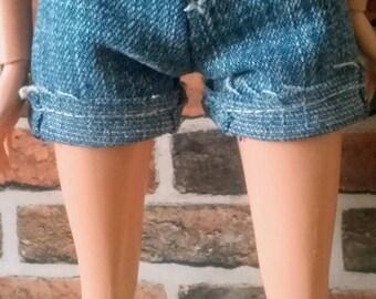 Denim Cutoff Cuffed Shorts for Barbie or similar size doll