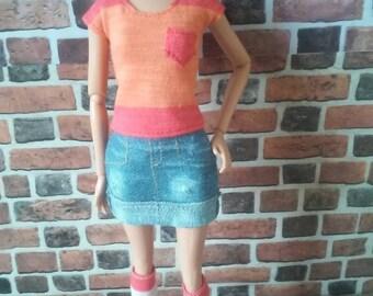 Color Blocking T Shirt w/ Pocket for Barbie, or similar size doll