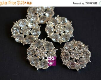 ON SALE Metal Rhinestone Buttons Crystal Clear with Loop 23mm - Flower Centers - Wedding Bridal Prom Jewels Sparkle Blossom Supplies Wholesa