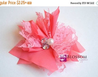ON SALE CLEARNACE Pink Flowers - The Madelyn Collection - Chiffon Flowers with Pearl and Rhinestone Centers - Headband Flower - Diy Blossom