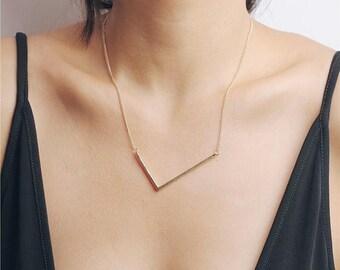 ON SALE Large V necklace - irregular V gold necklace - geometry necklace - statement necklace