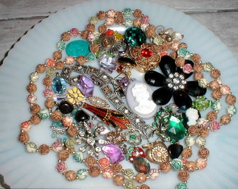 Thirty Five Jewelry Pieces *Beads & Baubles* Rhinestones ++Craft Repurpose