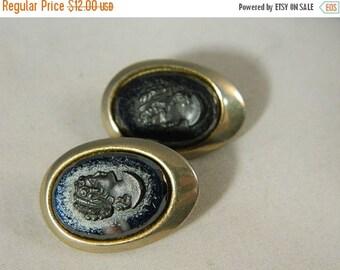 ETSYCIJ Black Glass Cameo Earrings / Vintage Sarah Coventry Cameo Earrings / Cameo Jewelry Vintage Clip Earrings