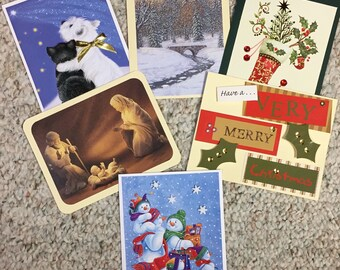 Upcycled / Recycled Christmas Greeting Note Cards - Set of 6