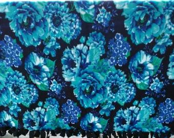 Blue Floral Tied Fleece Blanket