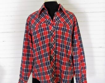 Plaid Wetsern Shirt, Womans Western Shirt, Plaid Blouse, Long Sleeve Shirt, Red White and Blue Plaid Cowgirl Shirt 1980s Plaid Western Shirt