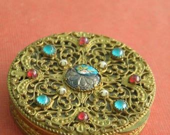 10% OFF Antique Victorian Ormolu Filigree Guilloche Powder Compact, Vintage Vanity Compact,