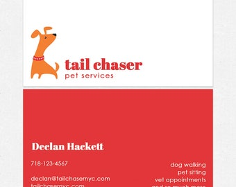 dog walker or dog trainer business cards - full color both sides - FREE UPS ground shipping