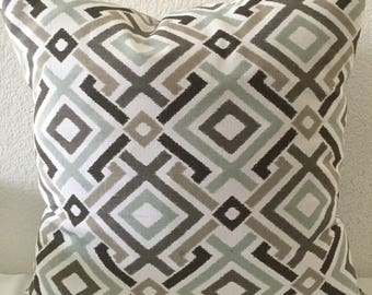 Pillow cover, grey brown light blue geometric pattern fabric, 18x18 inch square-Jacq in Quarry by Mill Creek