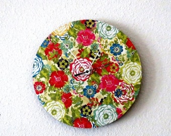 Small Wall Clock, Shabby Chic, Home Decor, Colorful Flowers, Decor and Housewares, Home and Living, Unique Wall Clock