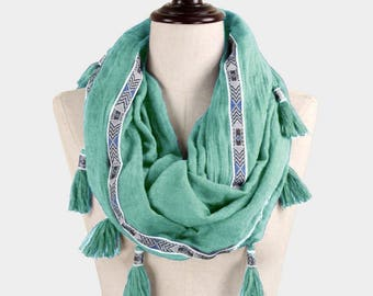 Have one to sell? Sell now Tassels Printed Infinity Scarf Aztec Pattern BOHO Mint