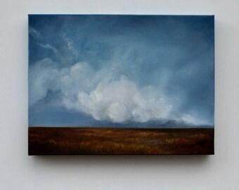 ON SALE Landscape painting, big sky painting, original oil painting, cloud landscape painting - The Dry Season