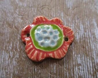 Ceramic Flower Bracelet Connector Pink Green Blue