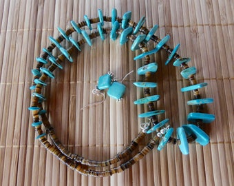 30 Inch Vintage Navajo Native American Chunky Basalt Turquoise and Heishi Necklace with Earrings