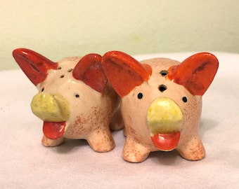 Vintage Little Pigs Salt and Pepper Shakers - Made in Japan