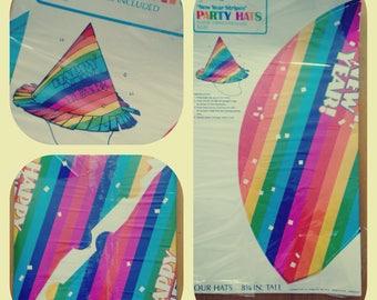 vintage hallmark rainbow striped New Years party hats, set of 4, nos