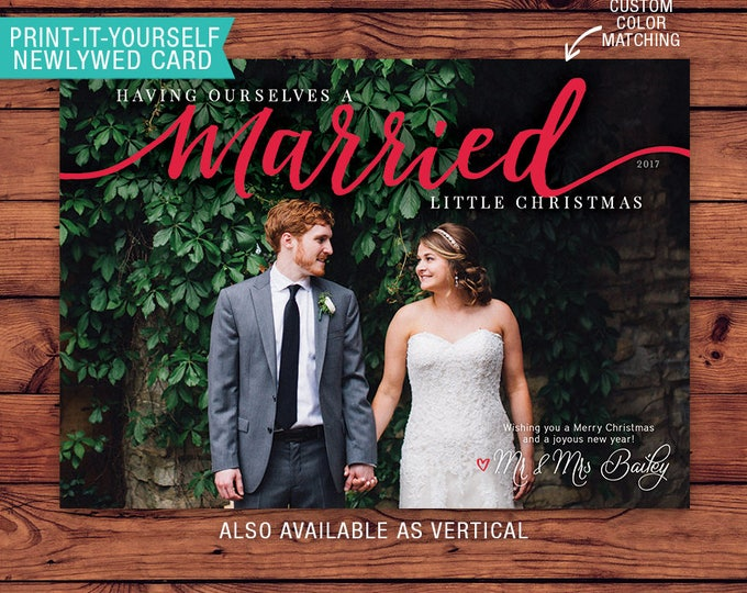Featured listing image: Newlywed Printable Photo Christmas Card - Married Little Christmas