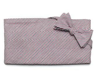 Americana Seersucker Stripe Cummerbund & Bow Tie~Mens Cummerbund Set~Mens Formal Wear~Groomsmen~Groom~Self Tie Bow Tie~Men Gift~Wedding