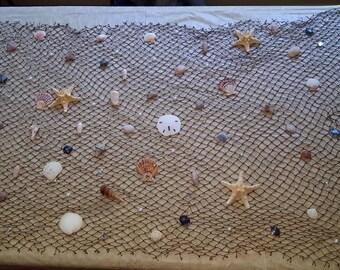 Beach Wall Nautical Netting, w/shells, Sea stars, pearls, rhinestones! Nautical Decor, Wall Netting, Coastal Decor, 4-5' Long! Made to Order