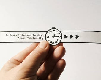 Printable Paper Watch - Kids Valentine's Day card - Classroom valentines - Preschool valentines crafts for kids