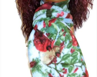 ON SALE Fleece Scarf Bird Red Cardinal Winter Holiday Gift Vintage Homemade Style