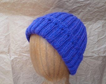 Women's Knit Hat, Bright Purple, Pure Wool, Watch Cap Beanie, Teen Girls Warm Cap