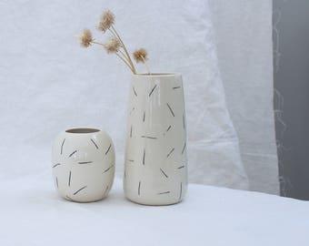 Dash Vase Porcelain Flower Vase Black and White Vase Ready to Ship