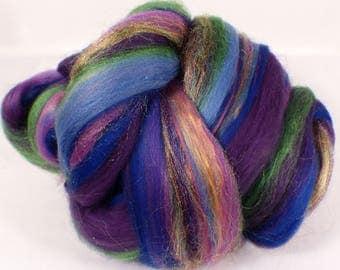 Siberian Iris -( 2 oz.)  Custom blended top - Merino/ Silk / Rainbow Firestar ( 50/40/10 )