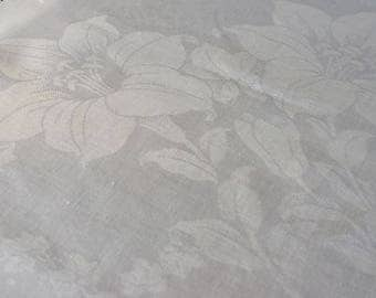 Vintage Linen Tablecloth Damask White 38 x 34 Day Lilies Tiger Small Hemstitched
