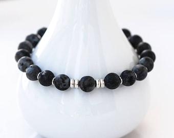 761_ Grey mens bracelet, Gift for him, Silver Labradorite bracelet, Gray Larvikite round stones bracelet, Gift for men, Mens bracelet gift.