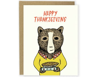Thanksgiving Card - Apple Pie Bear - Happy Thanksgiving
