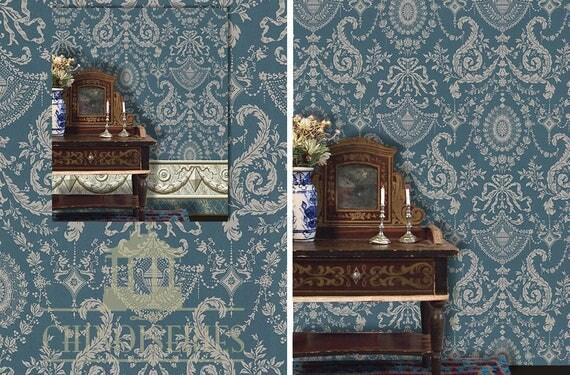 Dollhouse Miniature Wallpaper, Mary Elizabeth, Scale One Inch