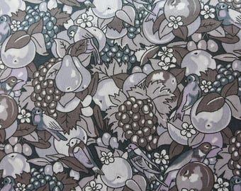LIBERTY Of LONDON Tana Lawn Cotton Fabric  'Osborne's' Grey/Lavender Lg Fat Quarter 18 X 26 in