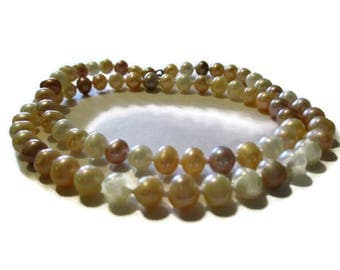 Vintage Sterling Multi Color Freshwater Pearl Necklace 18 Inches