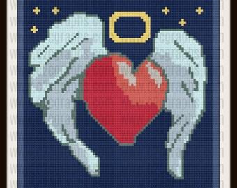 Heart Wings C2C Graph, Heart Wings, C2C Graph, Crochet Pattern