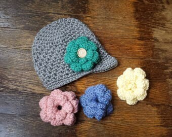 3 to 6 Months, Crochet baby hat with interchangeable flowers, Crochet Baby Beanie, Baby Gift, Baby Girl Gift, Hat with Flowers, Winter Hat