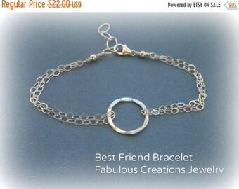 Christmas in July SALE Eternity Bracelet, Minimal Jewelry, Gifts for Best Friends, Adjustable Bracelet,Sterling Silver Open Circle, Everyday