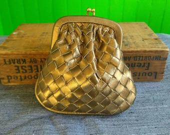 Vintage 1980s Gold Bottega Veneta Coin Purse Woven Leather Intracciato