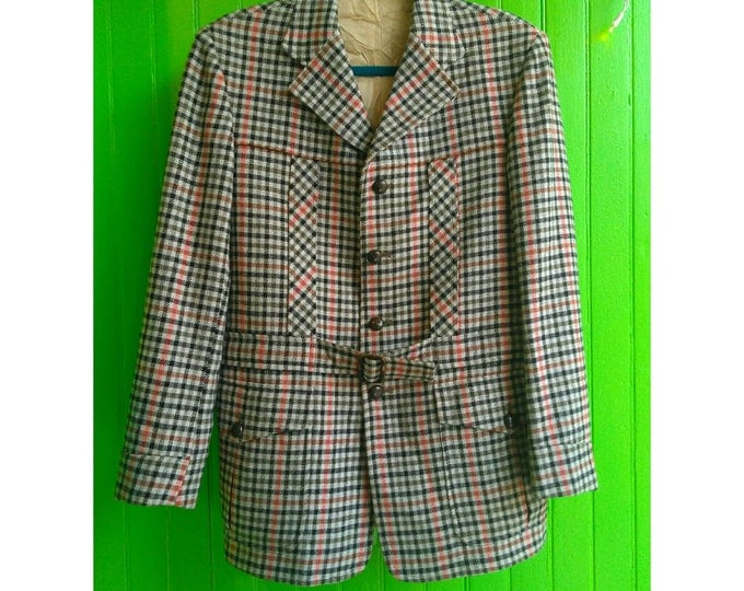 Featured listing image: Rare Vintage 1950s English Wool Check Hunting Hacking Jacket Belted Mint