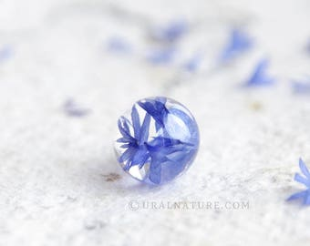 Cornflower Blue necklace   Real flower jewelry   Wildflower sphere pendant   Blue jewelry Cornflower resin jewellery Blue cornflower jewelry