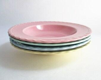 Vintage Vernonware Native California Soup Pasta Bowls Set of 4 Pastel Pink Blue Yellow Green Set of 3 Yellow Bowls