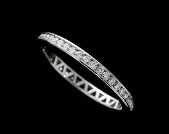 Diamond Wedding Ring, Channel Diamonds Band, Eternity Stackable Wedding Ring, Classic Women's Wedding Ring, Conflict Free Platinum 950 2mm