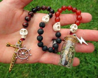 Taranis Pagan Prayer Beads with Charm Bottle - Celtic god of thunder and battle