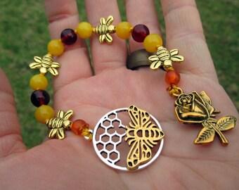 Bee Spirit Mini Prayer Strand - Pocket prayer beads, travel prayer beads, pagan prayer beads - totem of abundance & social justice