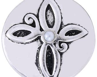 1 PC - 18MM Cross Faux Pearl Candy Snap Charm Silver KC8636 Cc3460