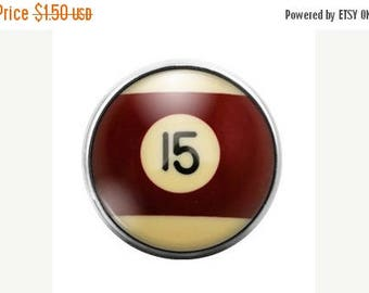 Pool Ball - 18MM Glass Dome Candy Snap Charm GD0250